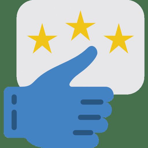 Pouce bleu avec des étoiles pour illustrer la passion des réseaux sociaux