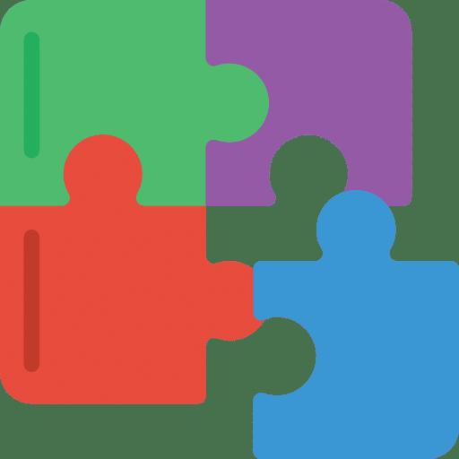 dessin de pièces de puzzle de quatre couleurs pour illustrer la polyvalence d'un community manager