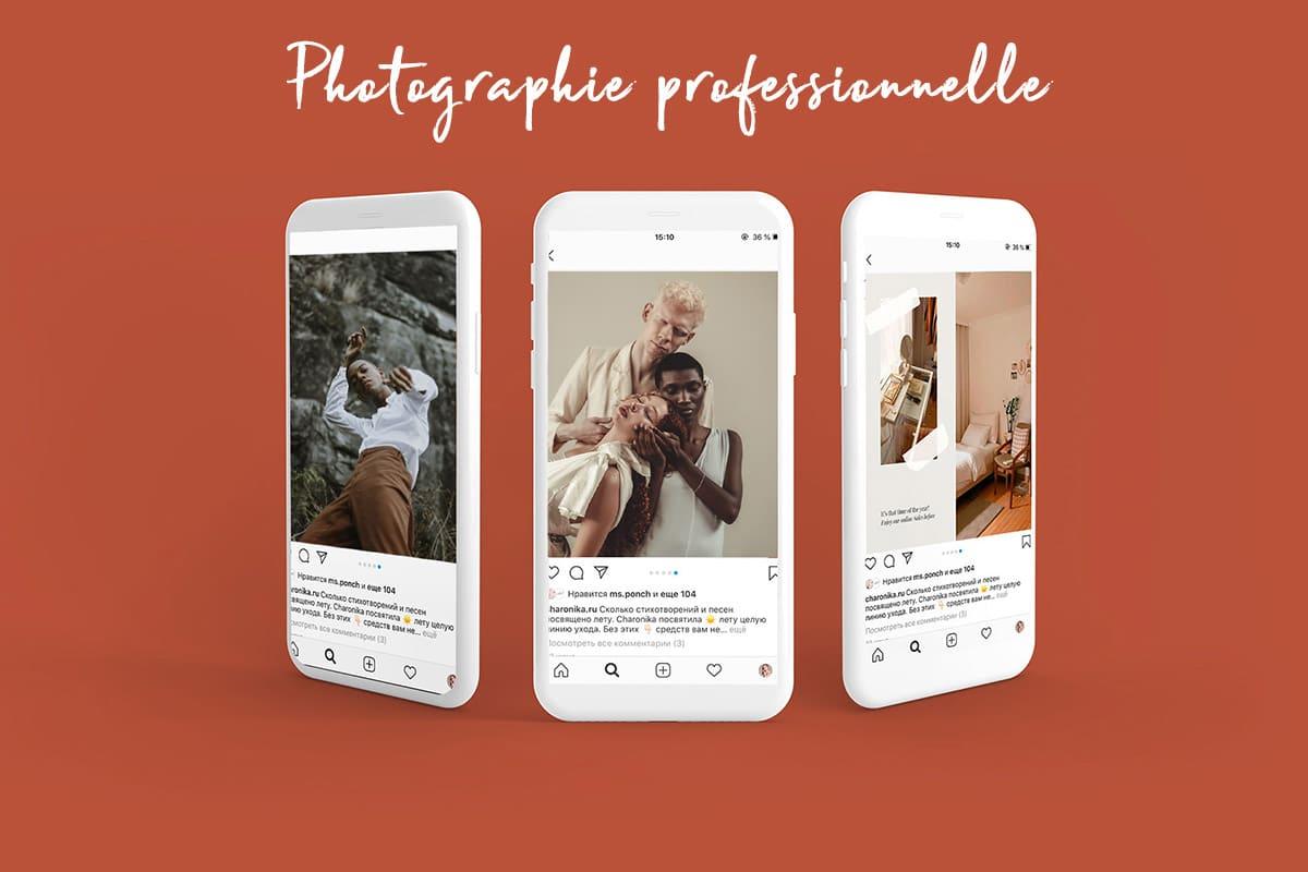Infographie de 3 téléphone présentant des photograhie professionnelle pour une utilisation sur les reseaux sociaux